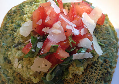 Spinach & Chick Pea Pancakes with Broccoli Hummus, topped with Tomato & Basil Salsa